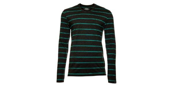 Pánské tmavě šedé tričko s dlouhým rukávem a pruhy Fundango