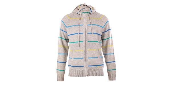 Pánský šedý pruhovaný svetr s kapucí