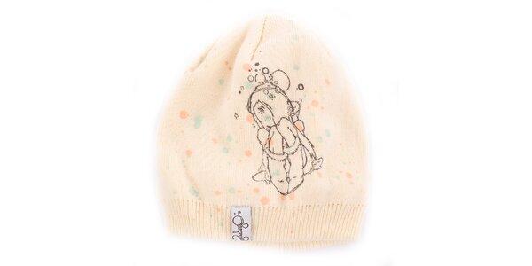 Dámská krémově bílá čepice Fundango s potiskem