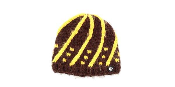 Dámská žluto-hnědá pletená čepice Fundango