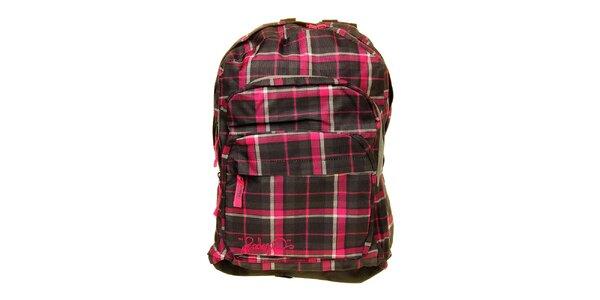 Dámský šedo-růžový kostkovaný batoh s logem Fundango