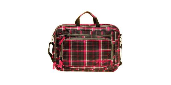 Dámská šedo-růžová kostkovaná taška na notebook Fundango