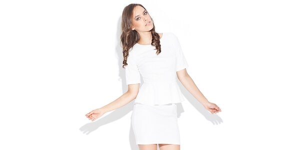 Dámské bílé peplum šaty Katrus