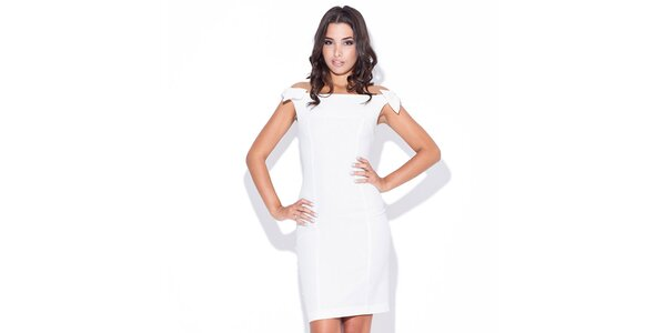 Dámské bílé šaty s mašličkami v ramenou Katrus