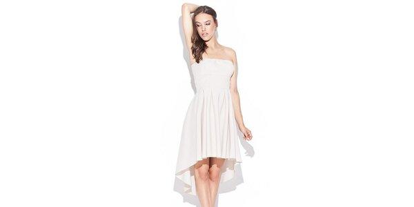 Dámské béžové šaty bez ramínek Katrus