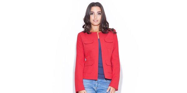 Dámské červené sako se čtyřmi kapsami Katrus