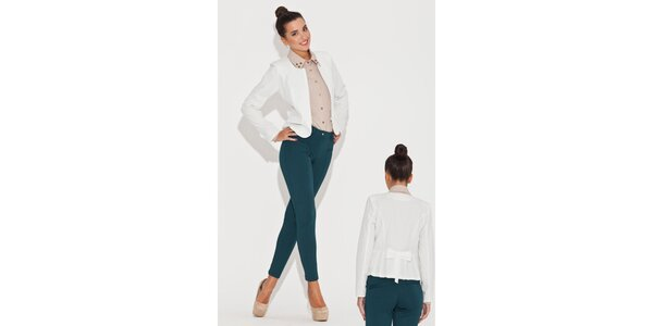 Dámské krémově bílé sako s mašlí Katrus