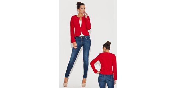 Dámské červené sako s mašlí Katrus