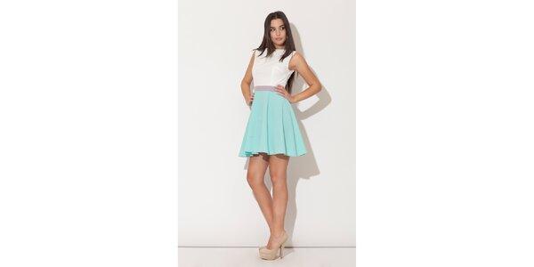 Dámské šaty Katrus s mentolovou kolovou sukní