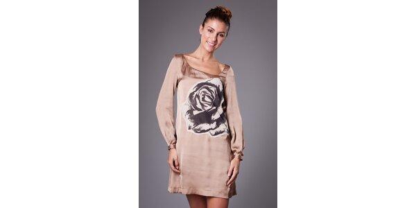 Dámské béžové saténové šaty ByLu s růží