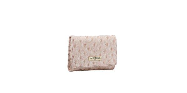 Dámská béžová peněženka Lancaster s imitací pštrosí kůže