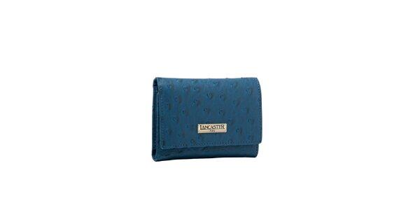 Dámská modrá peněženka Lancaster s imitací pštrosí kůže