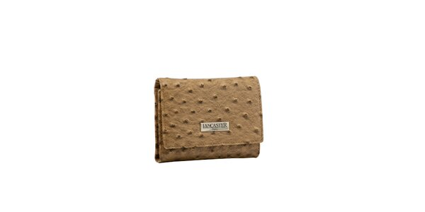 Dámská tmavě béžová peněženka Lancaster s imitací pštrosí kůže