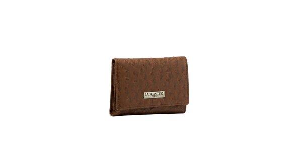Dámská hnědá peněženka Lancaster s imitací pštrosí kůže