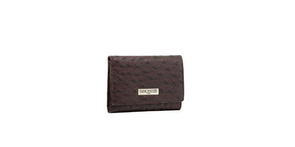 Dámská šedohnědá peněženka Lancaster s imitací pštrosí kůže