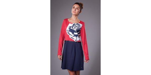 Dámské červeno-modré šaty ByLu s růží
