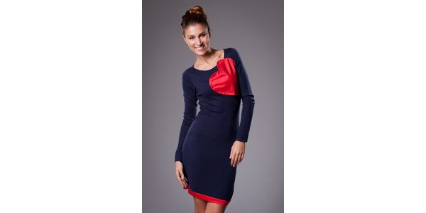 Dámské tmavě modré pletené šaty ByLu se srdcem