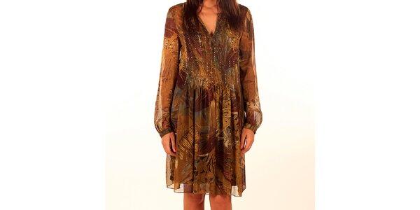 Dámské okrovo-hnědé vzorované šaty Privee