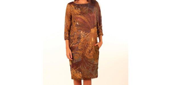 Dámské hnědé šaty s potiskem a korálky Privee