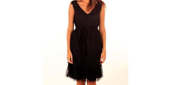 Dámské černé šaty s vrstvenou sukní Privee