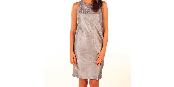Dámské šedé lesklé pouzdrové šaty Privee