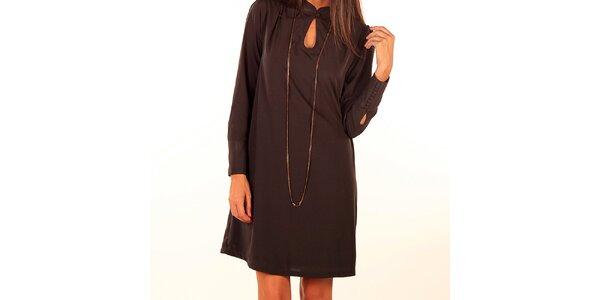 Dámské tmavě hnědé šaty s knoflíčkem u výstřihu Privee