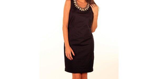 Dámské černé pouzdrové šaty s ozdobnýmí kamínky Privee