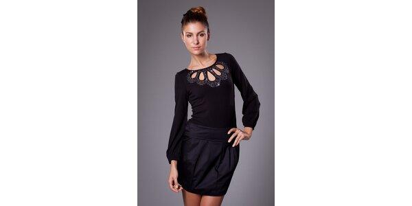 Dámské černé šaty ByLu s flitry