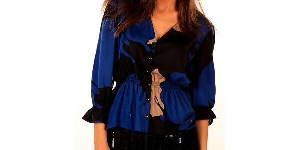 Dámská modro-černá halenka s elastickým pasem Privee