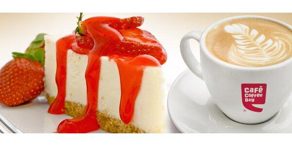 Dvě cappuccina a dva dorty v Coffee Day