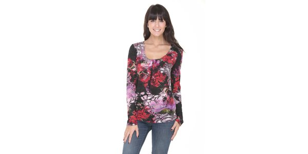 Tričko se vzorem růže Peace&Love