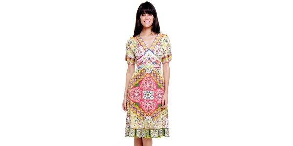 Dámské světlé šaty se vzorkem Peace&Love