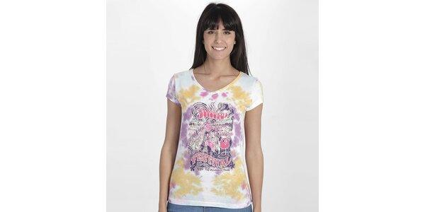 Dámské vzorované tričko s potiskem Peace&Love
