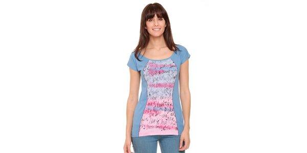 Dámské nebesky modré tričko s růžovým potiskem Peace&Love