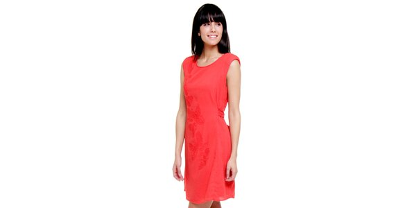 Dámské korálové šaty s výšivkou Peace&Love