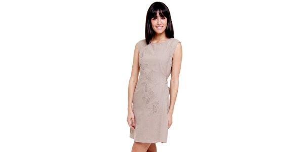 Dámské béžové šaty s výšivkou Peace&Love