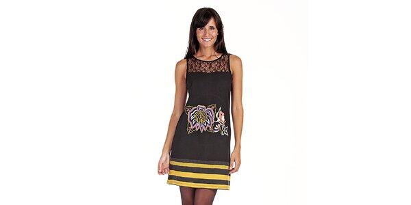 Dámské černé šaty s potiskem a krajkou Peace&Love