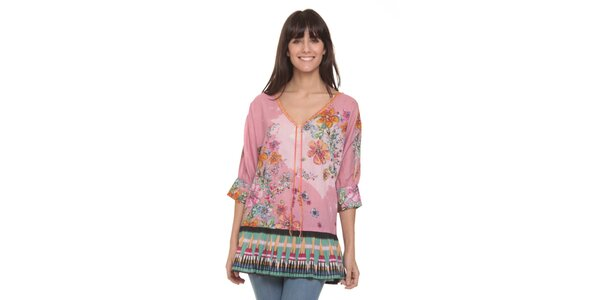 Dámská růžová tunika s květinovým potiskem Peace&Love