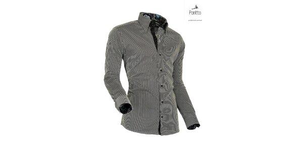 Pánská košile s černými proužky Pontto