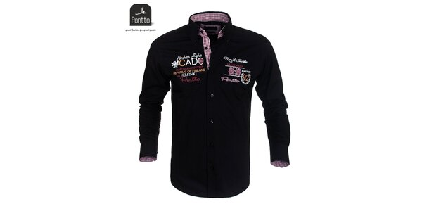 Pánská černá košile Pontto s vyšíváním na hrudi