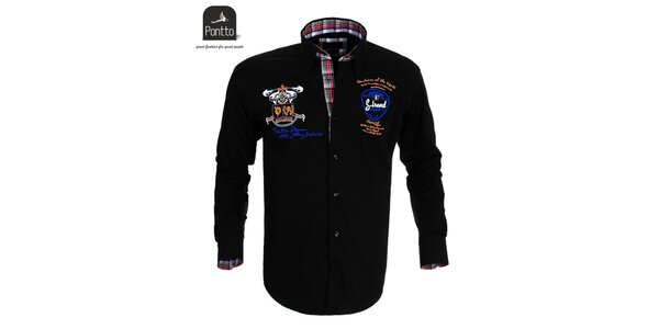 Pánská černá košile Pontto s nášivkami
