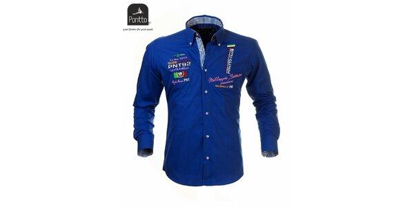 Pánská modrá košile Pontto s vlaječovými výšivkami