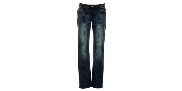 Dámské modré džíny s fialovými švy Exe