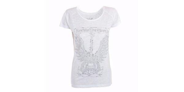 Dámské bílé tričko s kamínky Exe Jeans