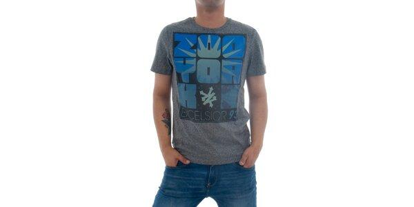 Pánské šedivé tričko Zoo York s modro-černým potiskem
