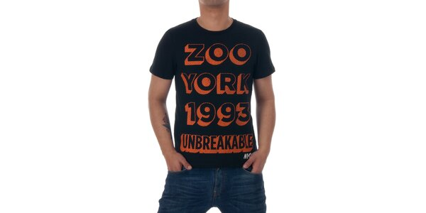 Pánské černé tričko Zoo York s oranžovým potiskem