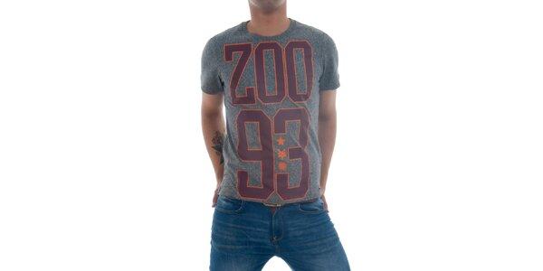 Pánské šedé tričko s vínovým potiskem Zoo York