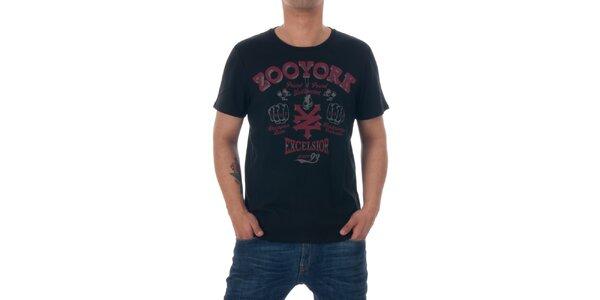 Pánské černé tričko Zoo York s červeným potiskem