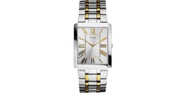 Pánské stříbrno-zlaté hodinky s hranatým ciferníkem Guess