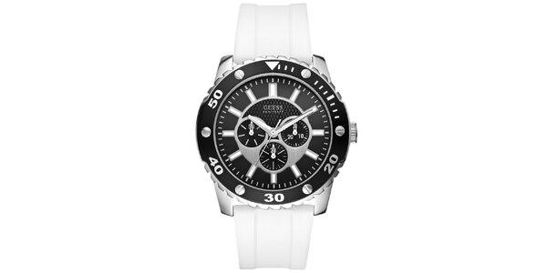 Pánské černo-bílé sportovní hodinky Guess